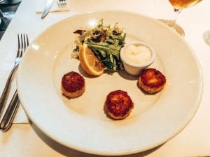Three Crab Cakes on a plate