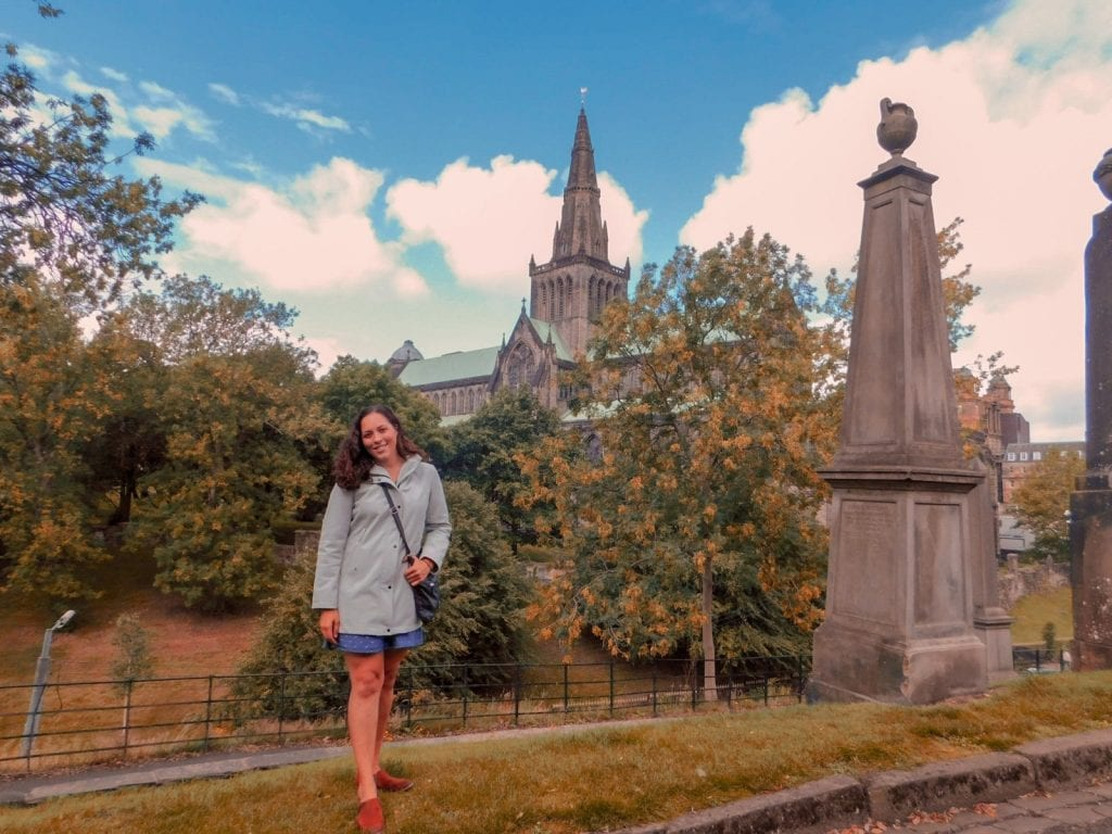 Sarah Fay in front of the Glasgow Cathedral from Necropolis