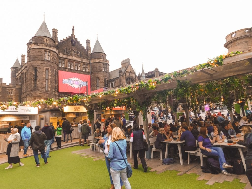 Teviot Student Center with bars outside for Edinburgh Fringe Fest