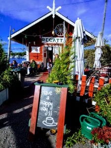 A red cafe on a lake that serves the best coffee in Helsinki. Cafe Regatta.
