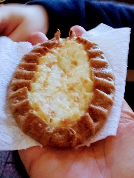 Karelian pasty -yummy pastry with rye crust and rice filling. It is warm and eaten in the mornings.
