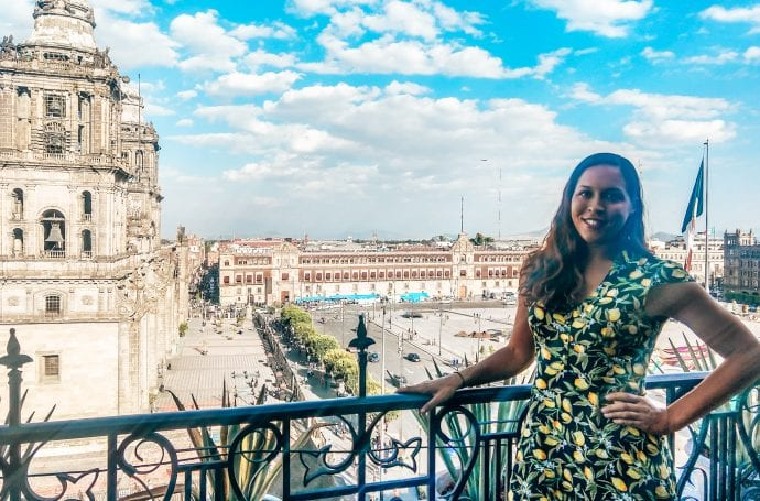 Sarah Fay at rooftop bar at Zocalo overlooking the Metropolitan Cathedral in Mexico City