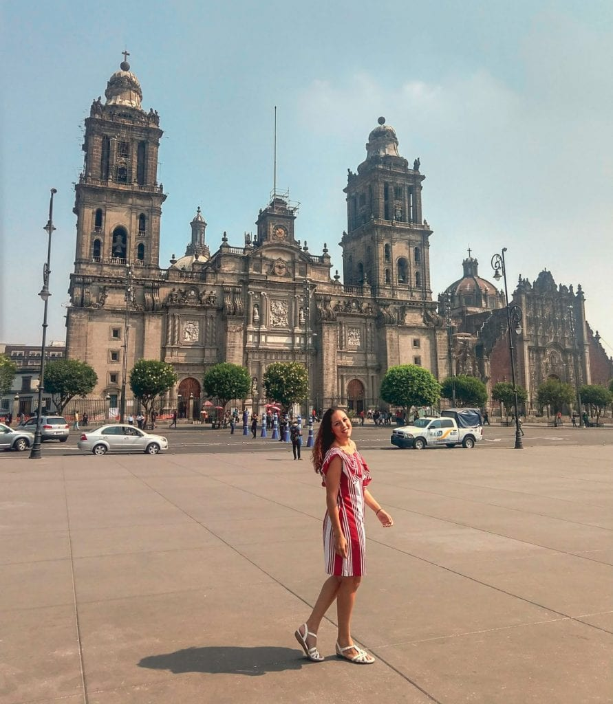 Sarah Fay in front of the Metropolitan Cathedral in Mexico City