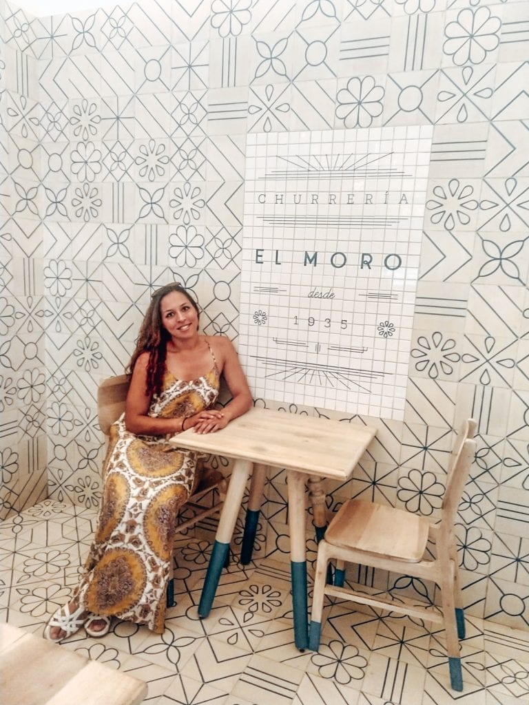 Sarah Fay travel blogger at El Moro Churros in Mexico City