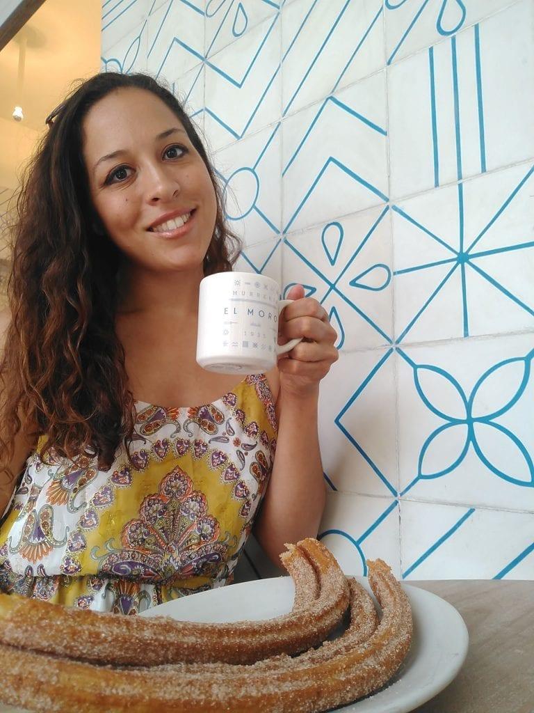 Sarah Fay enjoying hot coco and churros at El Muro in Mexico City CDMX