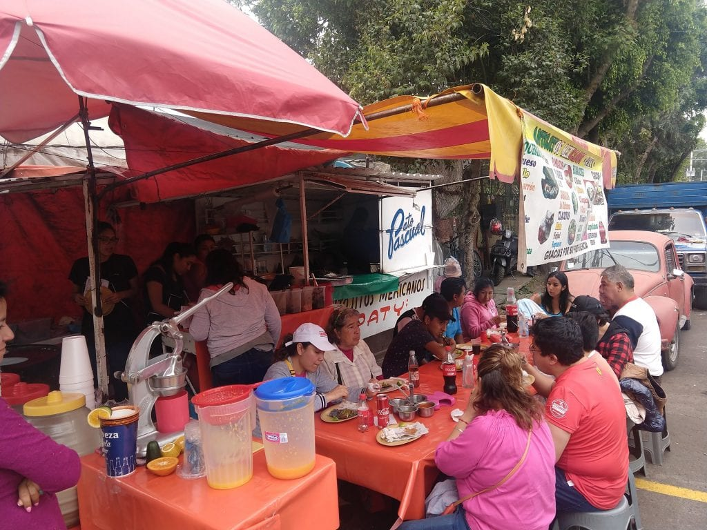 Tacos Al Pastor in Mexico City are a food staple. Mexico City CDMX here is a street food market.