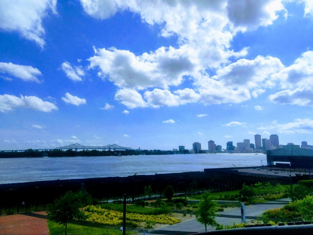 Crescent Park along the redone riverfront in New Orleans, La.  The skyline of New Orleans is visible along the Mississippi River.