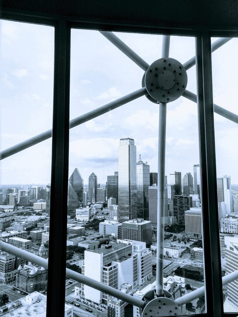 Wolfgang restaurant at Reunion Tower in Dallas Texas . View from the top and skyline of Dallas.