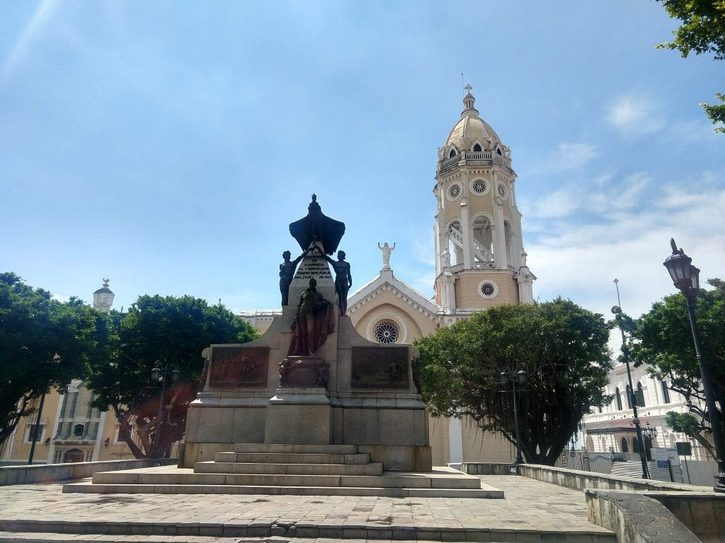 Square in Casco Viejo in front of church in Panama City, Panama.