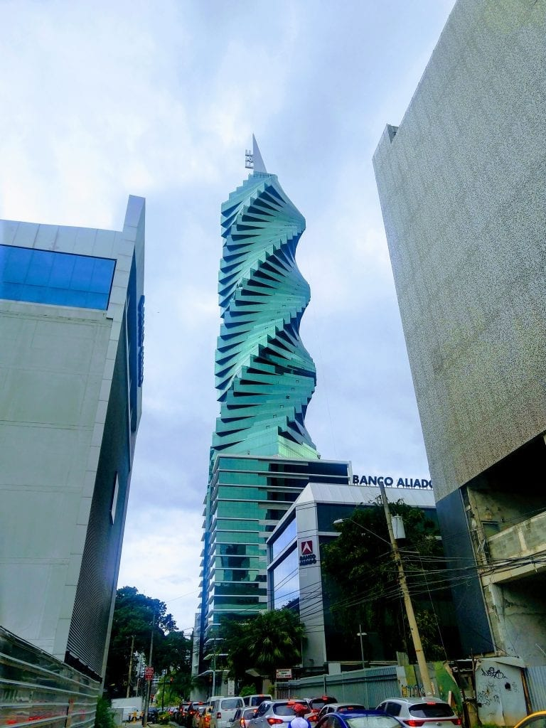 Spiral tower that looks like a cork screw. Tall skyscraper in Panama City.