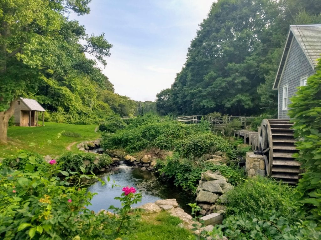 Beautiful landscape of Stony Brook Grist Mill a museum off of Route 6A in Cape Cod Massachusetts.