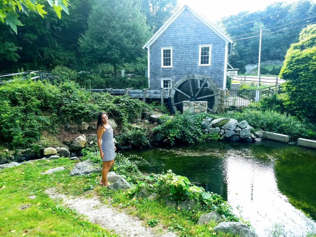 Sarah Fay in front of the Stony Brook Grist Mill in Cape Cod on Route 6A.