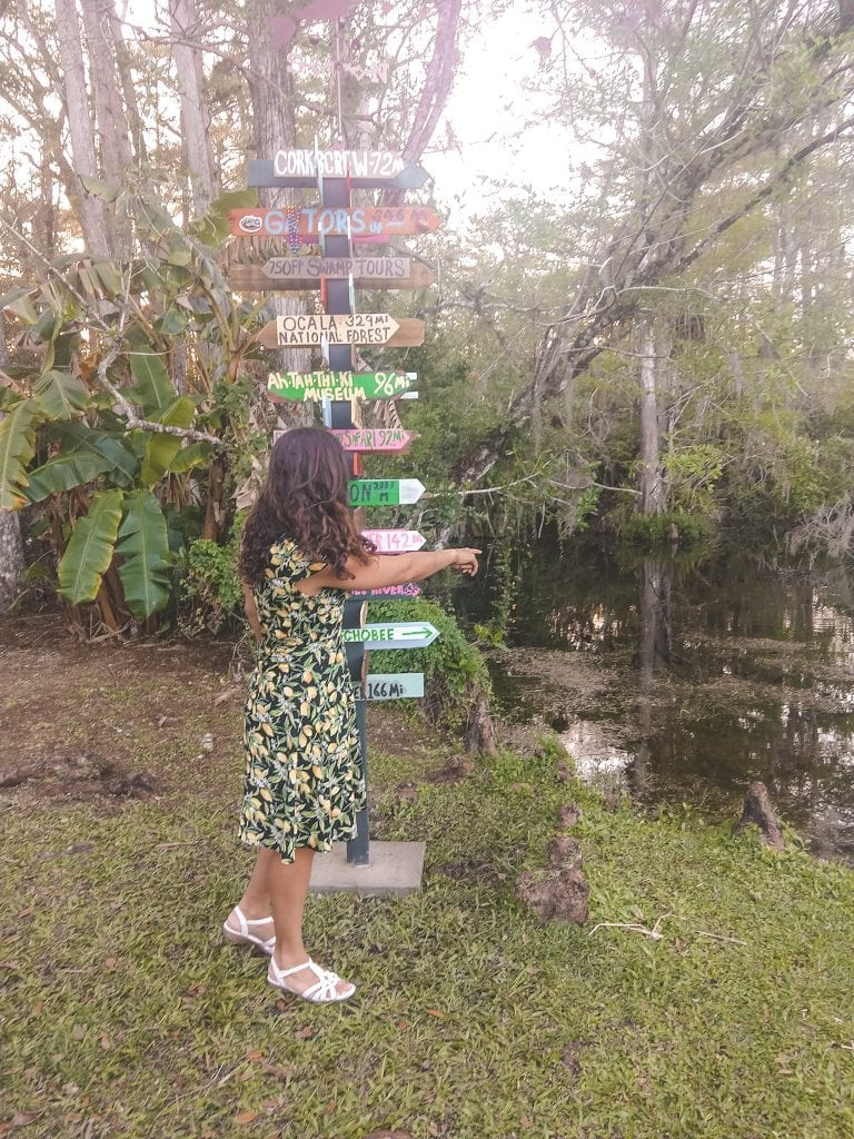 Sarah Fay travel blogger, just outside the Clyde Butcher Big Cypress Art Gallery. #visitflorida #everglades