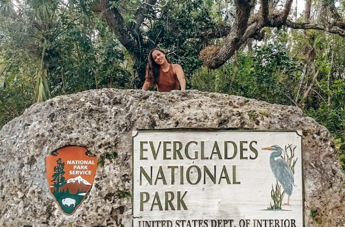 Sarah Fay next to the Everglades National Park Entrance in South Florida! #VisitFlorida #Everglades