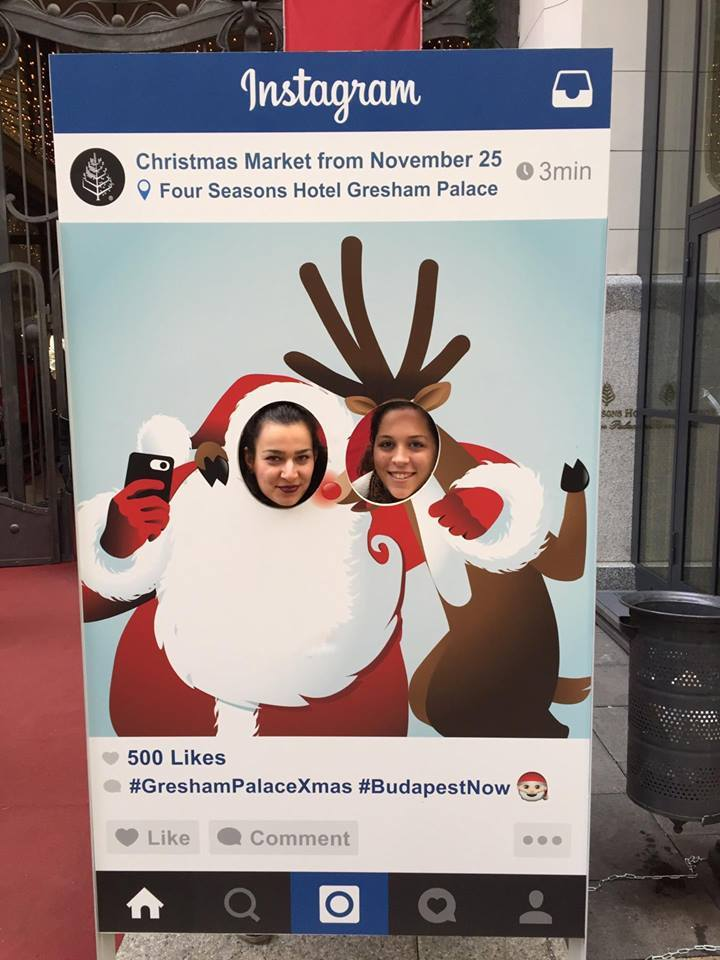 Christmas Market fun at the Gresham Palace in Budapest, Hungary. The Gresham is the best place to experience the opulence of Budapest and feel royal.