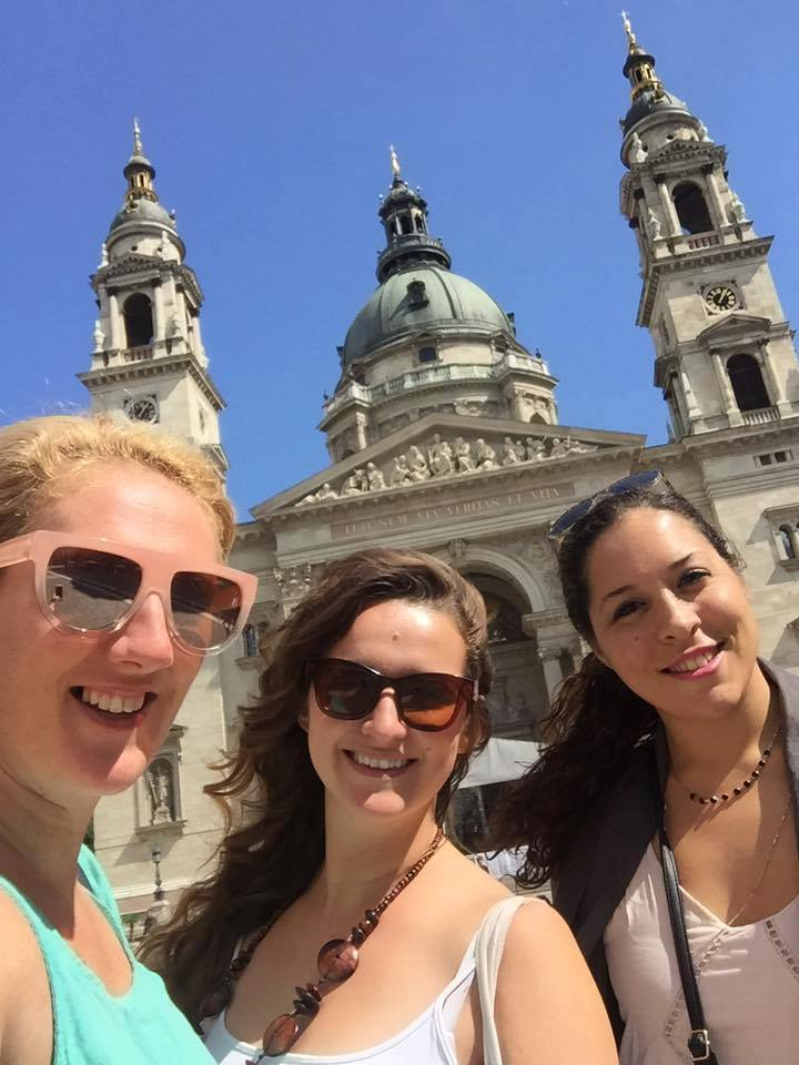 In front of the St. Stephen's Basilica in the square in Budapest, Hungary. #visitbudapest #budapesthungary