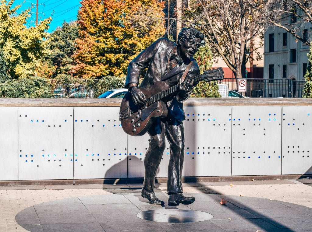 Chuck berry bronze statue at The Delmar Loop in Saint Louis, Missouri.