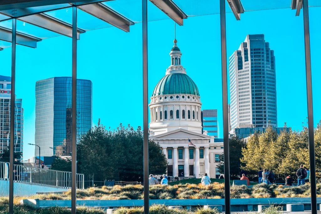 The Old Courthouse in Saint Louis from the inside of the museum at the Gateway arch national park in missouri.