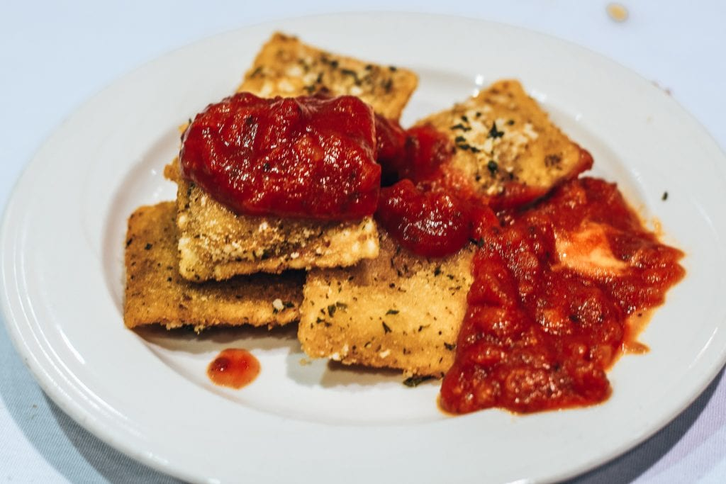 Toasted Ravioli with red marinara at Mama's on The Hill in Saint Louis, Mo.
