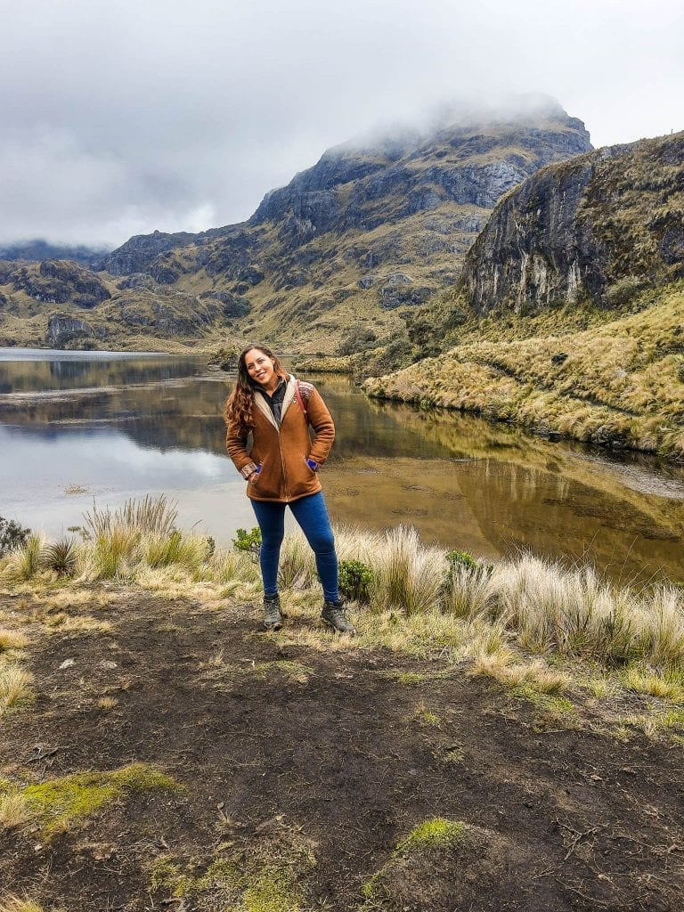 Sarah Fay in front of lake in Cajas National Park near Cuenca, Ecuador. #visitecuador