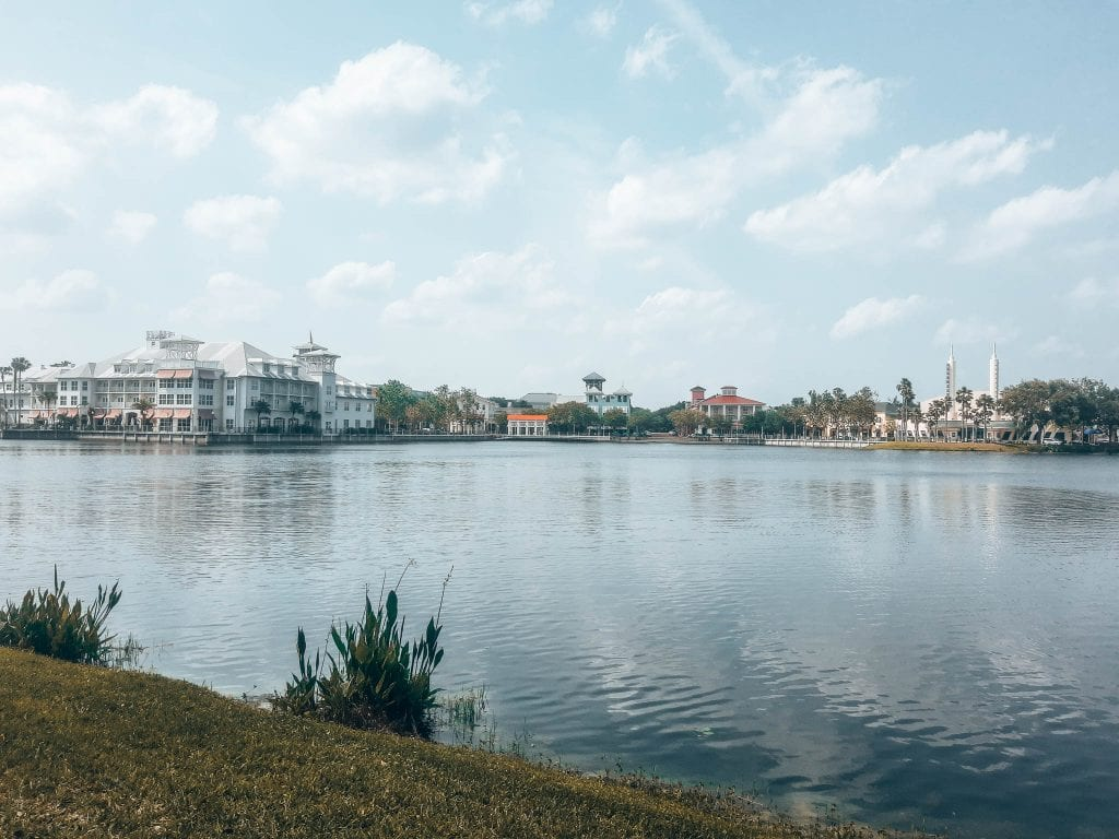 Celebration, Florida's lake just outside of Florida is perfect for a leisurely bike ride in the Orlando area.