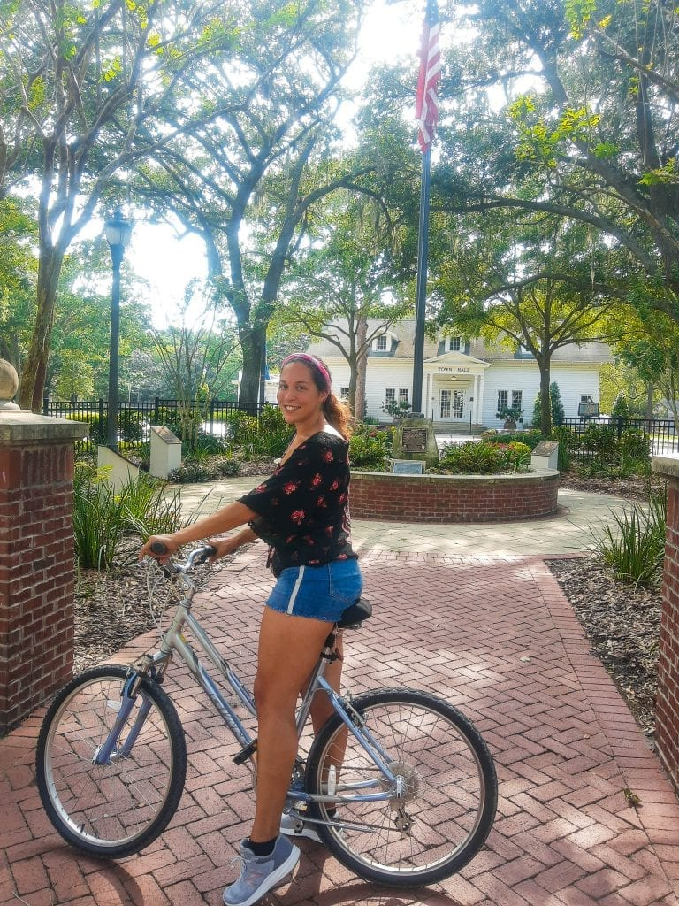 Sarah Fay on her bike in Downtown Windermere, Florida.