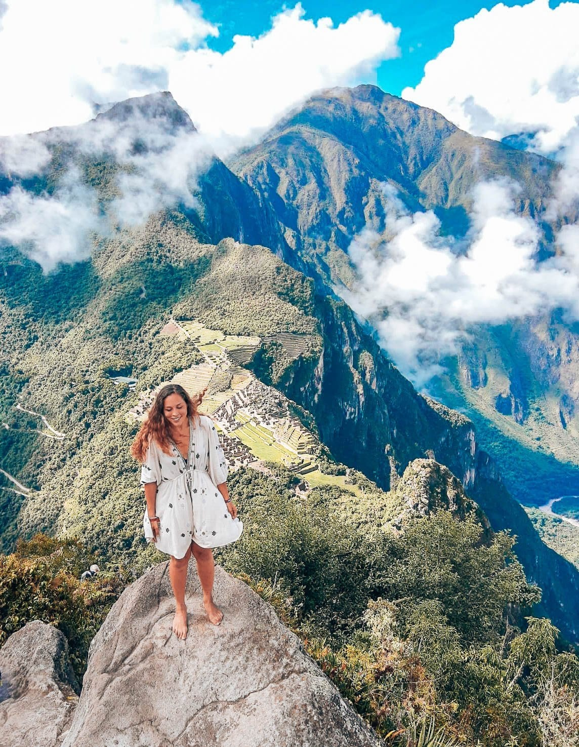 Sarah Fay standing on top of Machu Picchu