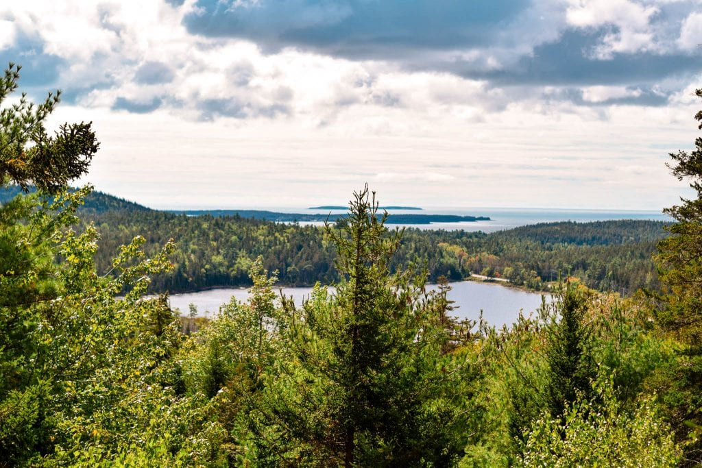 View of Acadia National Park on a hike.Acadia National Park in Maine.