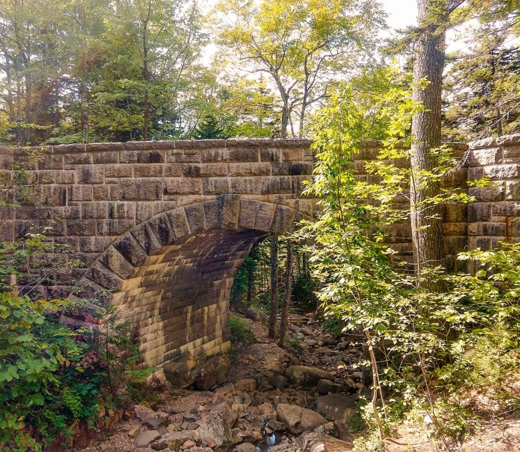 Stone Bridges on carriage roads made by Rockefeller Family in Acadia National Park.Acadia National Park in Maine.
