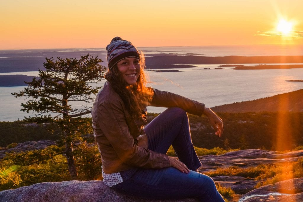 Sunrise on Cadillac Mountain at Acadia National Park in Maine.