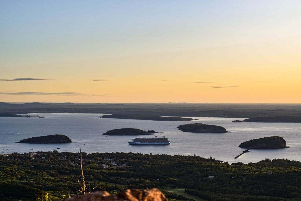 view at sunrise from cadillac mountain in Acadia National Park