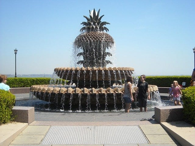 A giant pineapple water fountain greets people to the waterfront park in Charleston, SC.
