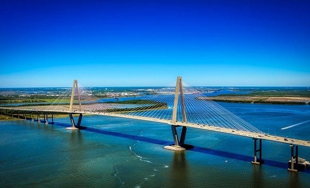 Ravenel Bridge in Charleston, SC offers a unique experience with a bike lane that allows you to go across the iconic bridge.