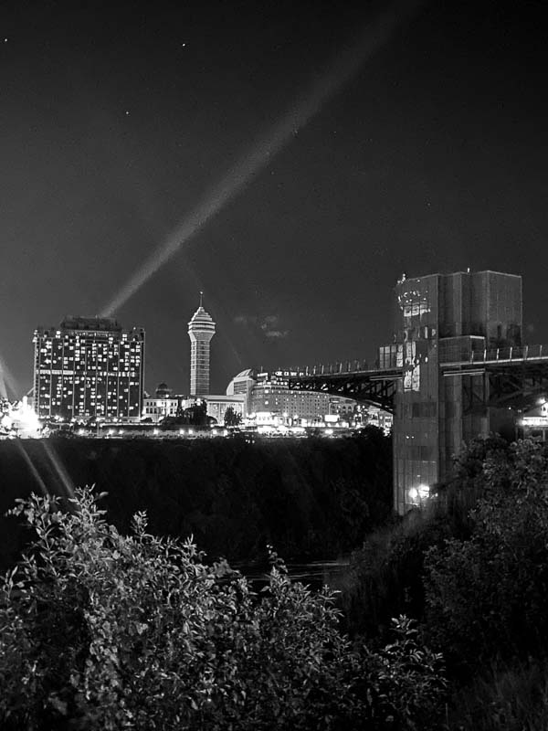 Niagara Falls Observation Tower at Night From The American Side of Niagara Falls.