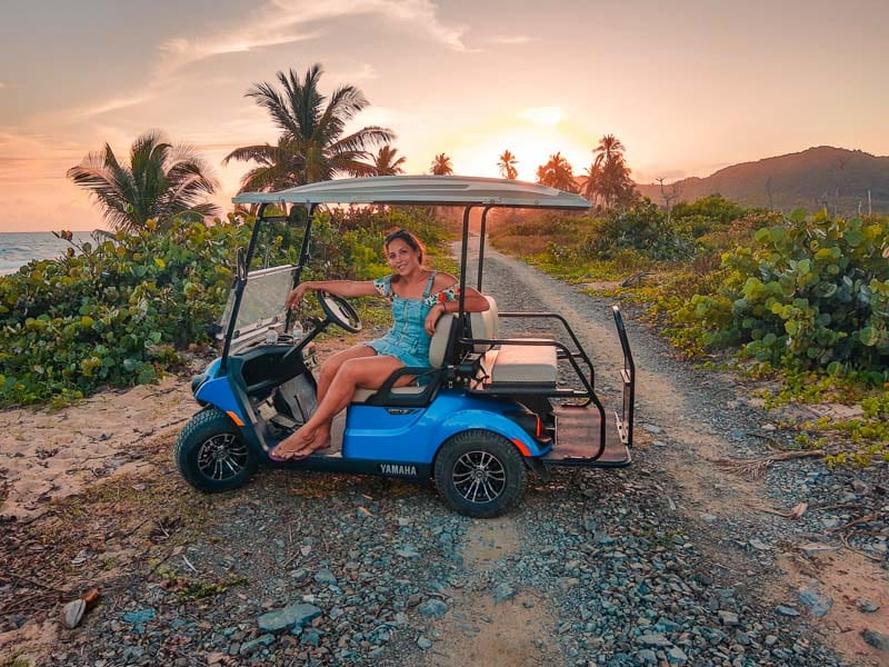 Puerto Rico Road Trips can lead you to Fajardo where you can take a ferry to Vieques, Puerto Rico and rent a golf cart to see the island.