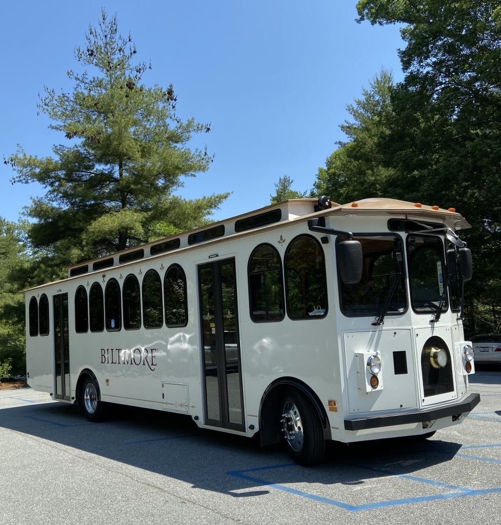 Biltmore Trolley that takes you to and from the Parking lot to the Biltmore Estate.