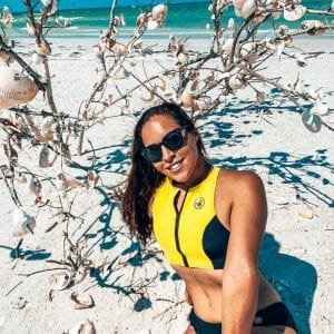Yellow 80s body glove suit bikini. Sarah at shell key preserve