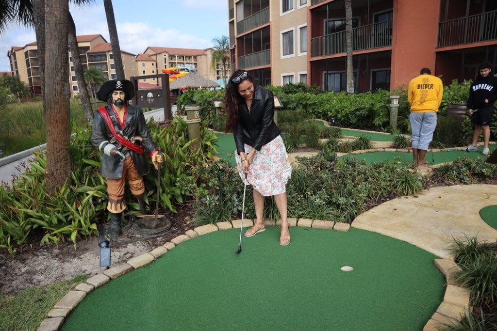 Mini Golfing at Westgate Lakes Resort and Spa in Orlando, Florida. Orlando Staycation