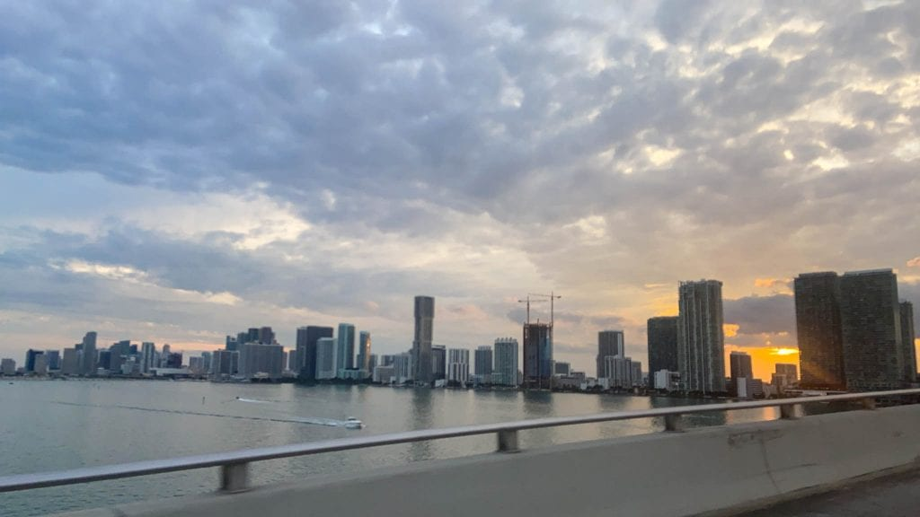 Sunset driving over the bridge to Mid Beach, Miami, Florida. The location of Circa 39 a boutique hotel in Miami is perfect!