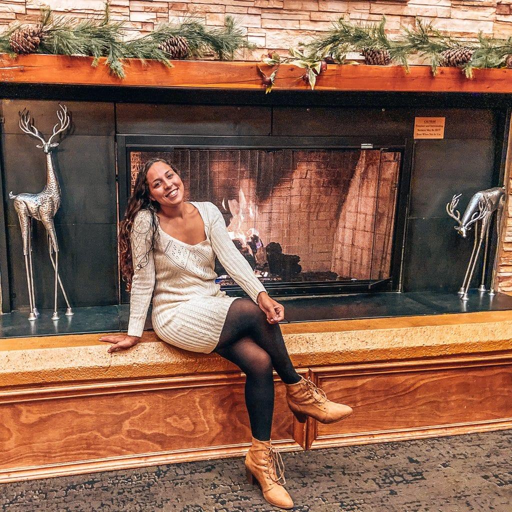 Fireplace at bighorn bistro