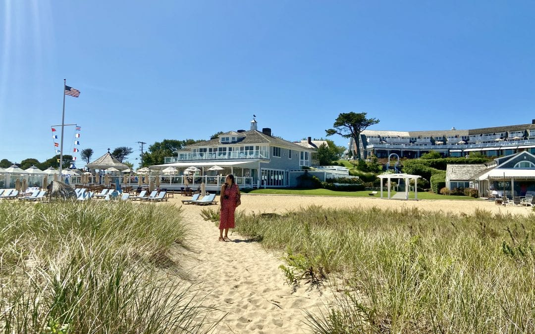 Sarah fay walking to the Chatham Bar Inn in Cape Cod. Best Towns of Cape Cod.