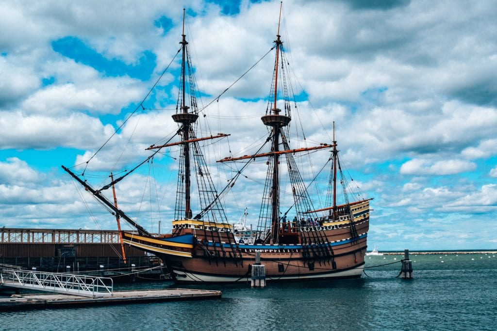 Mayflower 2 in port in Plymouth Massachusetts a perfect day trip from Boston, Massachusetts.
