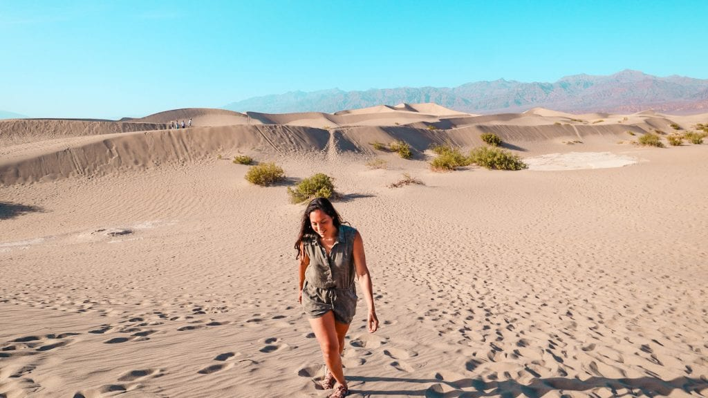 Sarah Fay hiking in the Mesquite Flat Sand Dunes in Death Valley National Park.