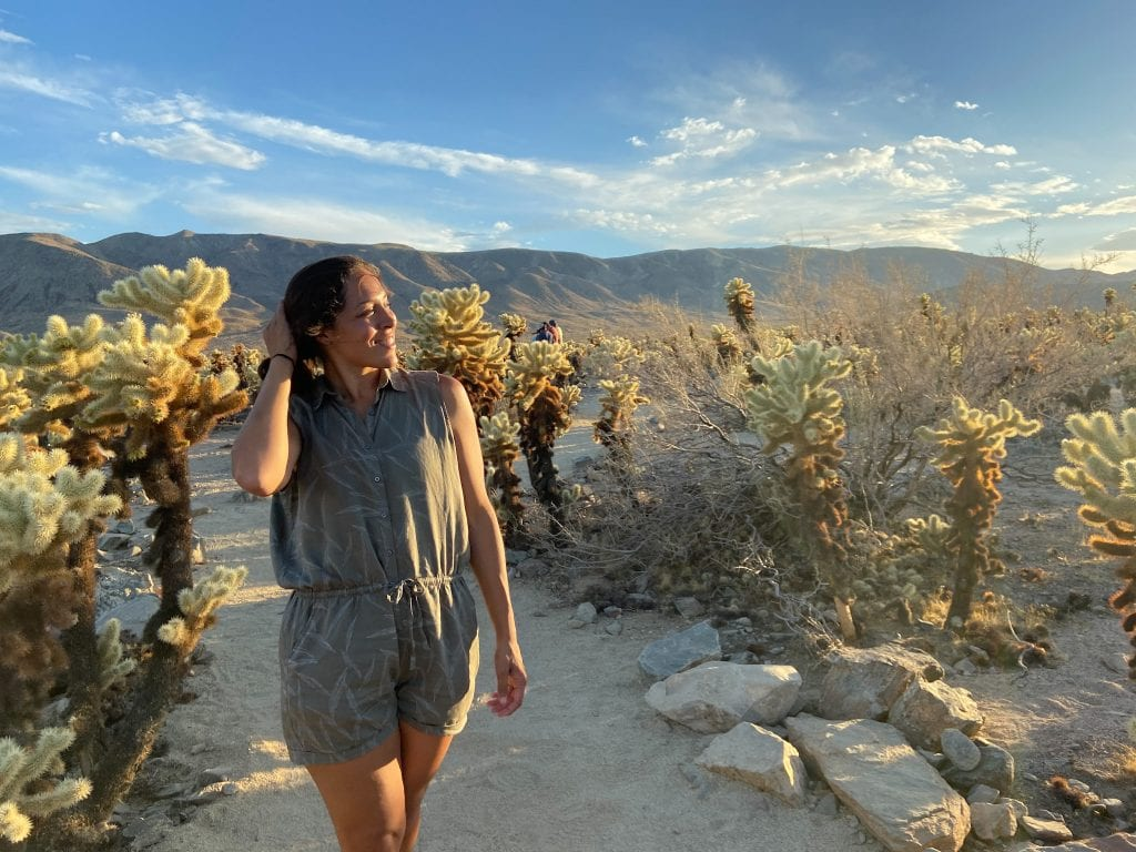 Sarah Fay travel blogger enjoying sunset in Cholla Cactus Garden in Joshua Tree National Park.