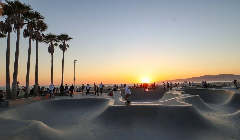 Sunset at Venice Beach skatepark is a beautiful thing to do in Venice Beach California.