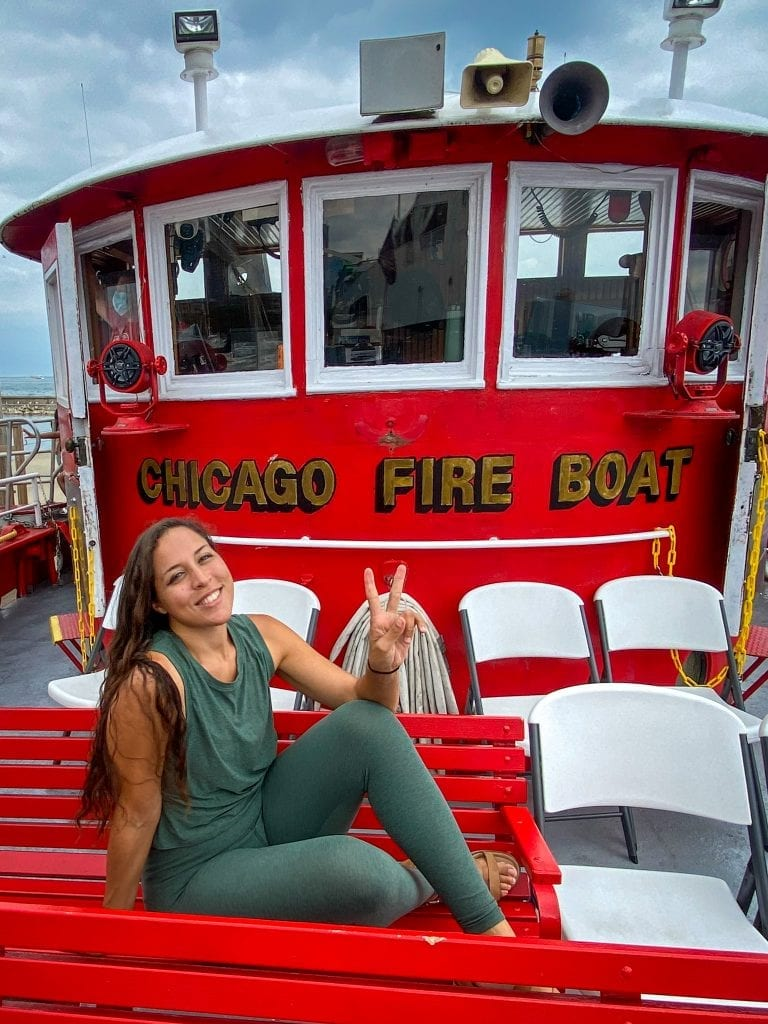 Sarah Fay on the fireboat tour in Chicago, illinois